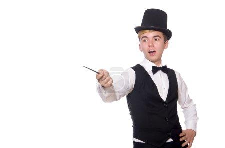 Photo pour Magicien avec bâton magique isolé sur blanc - image libre de droit