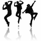 Siluety tanečníků v tanci koncepce