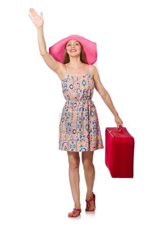 Photo pour Femme en concept de voyage sur blanc - image libre de droit