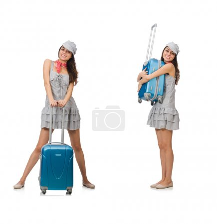 Photo for Travelling woman with suitcase isolated on white - Royalty Free Image