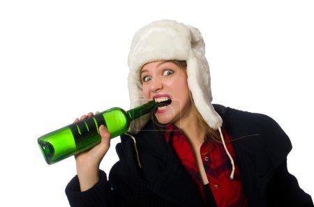 Photo pour Femme avec un chapeau dans le concept drôle - image libre de droit