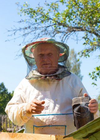 man works on an apiary
