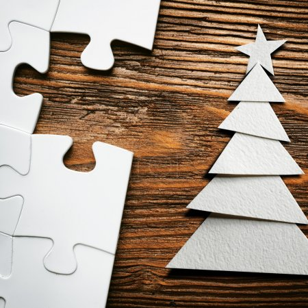 puzzles with paper Christmas tree