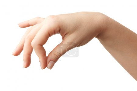 Photo for Woman Hand gesture on white background. Isolated - Royalty Free Image