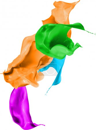 Colored paint splashes isolated