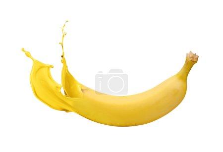 Photo pour Banane jaune avec éclaboussures d'appât isolé sur fond blanc - image libre de droit