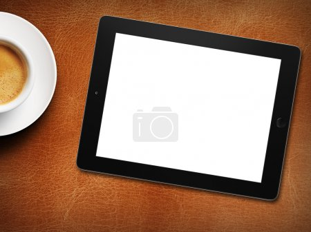 tablet white screen similar to ipad display and coffee