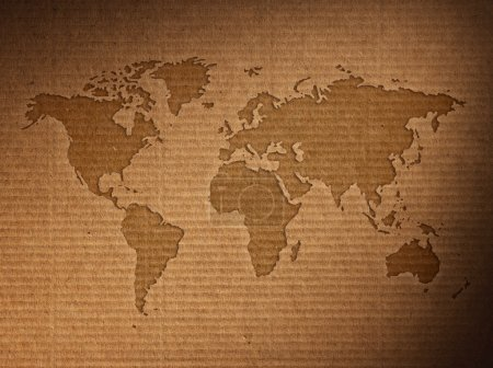 Photo for World map shows the corrugated cardboard.Close up - Royalty Free Image