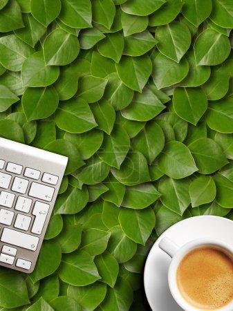 coffee mug and keyboard.