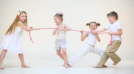 Four cute kids with pink rope
