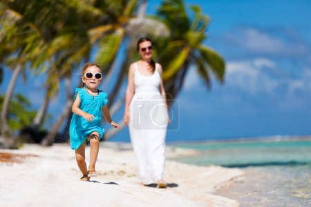 Mother and daughter on a tropical vacation