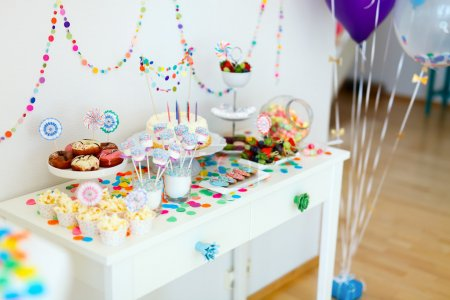Cake, candies, marshmallows, cakepops, fruits and ...