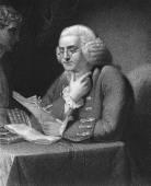Benjamin Franklin (1706-1790) on engraving from 18