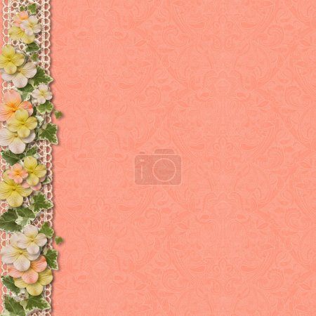 Photo for Vintage background with a border of flowers - Royalty Free Image