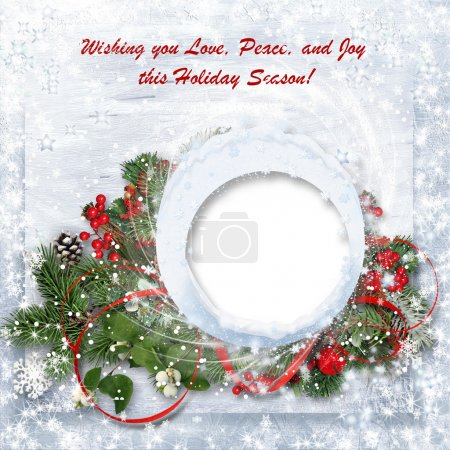 Photo for Christmas background with branches, holly and wishes - Royalty Free Image