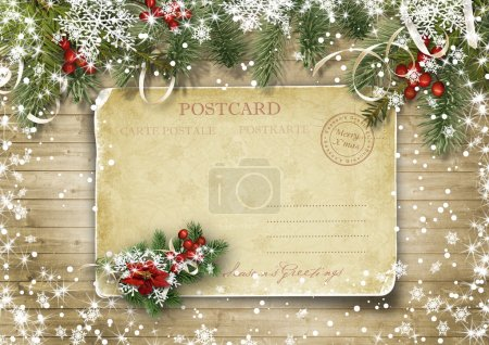 Photo for Christmas vintage card on the wood texture with holly and firtree - Royalty Free Image