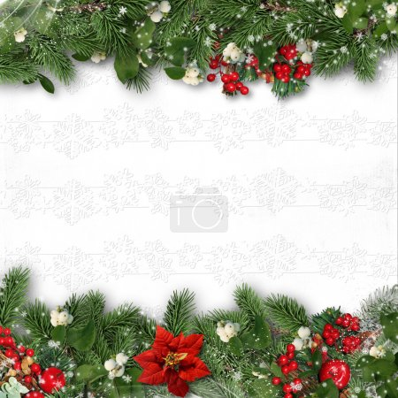Photo for Christmas border on white background with holly,firtree. - Royalty Free Image