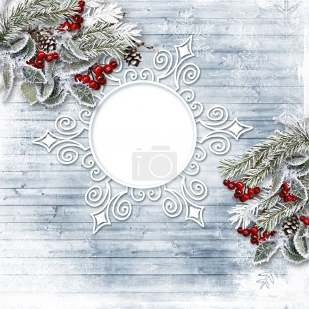 Photo for Vintage Christmas card with holly and fir branches. Photo frame - Royalty Free Image