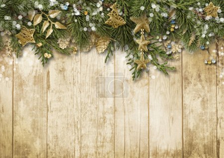 Photo for Christmas border with vintage decoration on wooden board - Royalty Free Image
