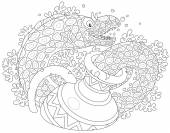 Black and white vector illustration of a moray eel swimming out of an old jug on a coral reef