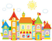 Vector illustration of a toy town with colorful houses