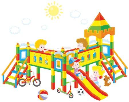 Illustration pour Illustration vectorielle de petits enfants jouant sur une aire de jeux par une journée ensoleillée d'été - image libre de droit