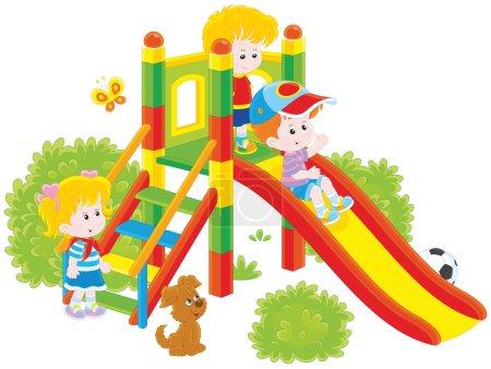 Illustration pour Illustration vectorielle de petits enfants jouant sur un toboggan sur une aire de jeux, sur un fond blanc - image libre de droit