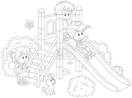 Illustration pour Illustration vectorielle en noir et blanc de petits enfants jouant sur un toboggan dans une aire de jeux - image libre de droit