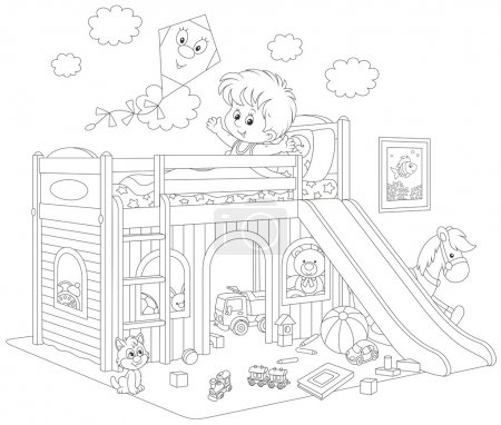 Illustration for Black and white vector illustration of a little boy waking up and stretching himself in his bed at home - Royalty Free Image