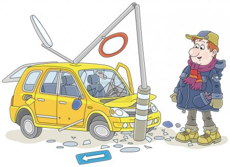Illustration pour Homme triste drôle avec sa voiture jaune s'est écrasé dans un lampadaire sur une route, illustration vectorielle de dessin animé isolé sur un fond blanc - image libre de droit