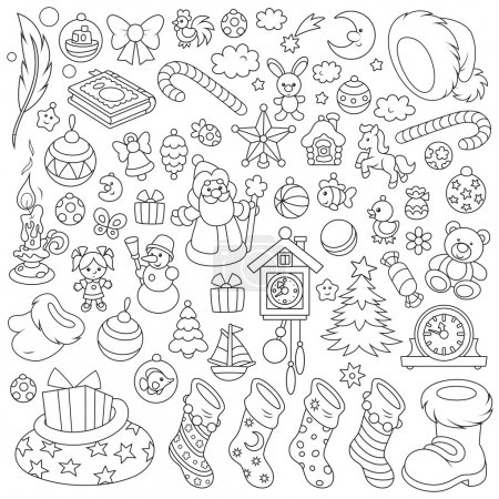 Illustration for Set of toys, balls and other objects for your holiday design - Royalty Free Image