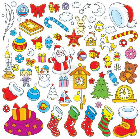 Illustration for Set of colorful toys, balls and other objects for your holiday design - Royalty Free Image