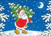 Santa mit einem weihnachtsbaum