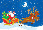 Father Christmas with a big bag of gifts flying in his sleigh