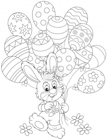 Illustration for Little rabbit walking with colorful balloons decorated like Easter eggs - Royalty Free Image