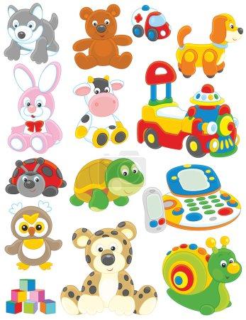 Illustration pour Ensemble de jouets vectoriels drôles sur fond blanc - image libre de droit