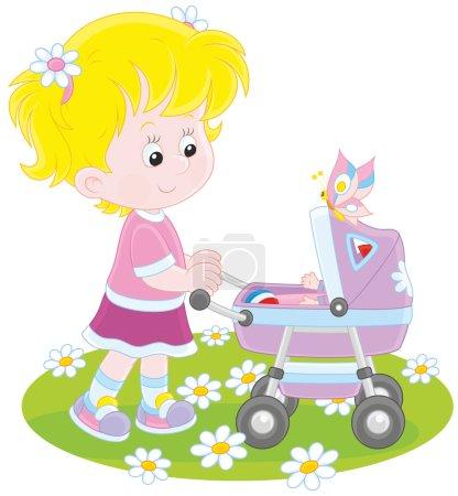 Fille avec une poussette de bébé jouet
