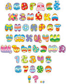 Russian alphabet and numerals colored like Easter eggs