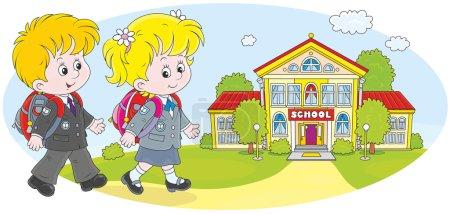 Schoolchildren going to school