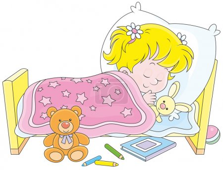Illustration for Little girl sleeping in her bed - Royalty Free Image