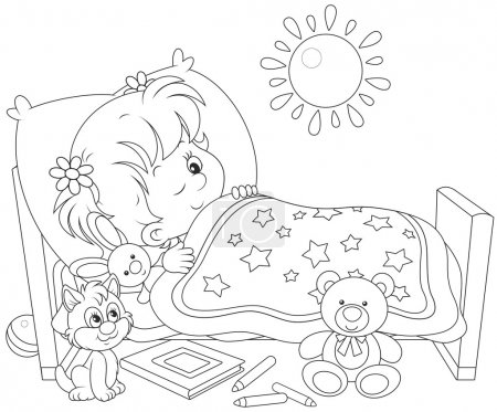 Illustration for Little girl waking up in her small bed - Royalty Free Image