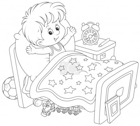 Illustration for Little boy waking up and stretching in his bed at home - Royalty Free Image