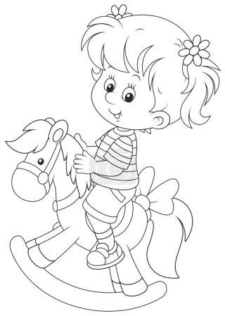 Illustration pour Bonne petite fille chevauchant un cheval jouet - image libre de droit