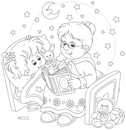 Illustration for Grandmother reading aloud a book of fairy tales to her grandchild lying in her bed - Royalty Free Image