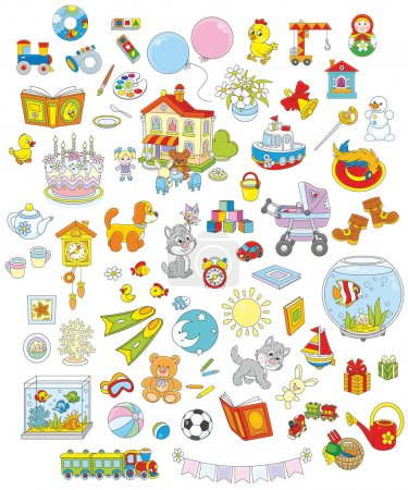 Illustration for Set of funny vector toys, pets, gifts and other objects on a white background - Royalty Free Image