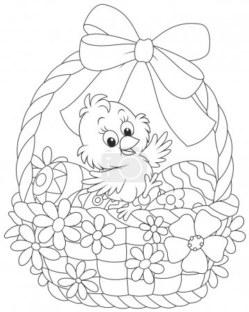Easter Chick in a decorated basket