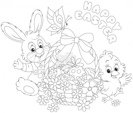 Easter card with Bunny and Chick