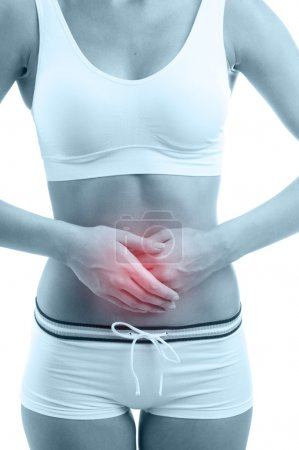 Photo for Woman with pain in stomach on white background - Royalty Free Image