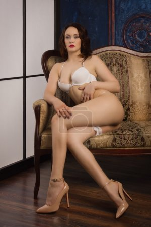 Foto de Sexual mujer en ropa interior posando en un boudoir - Imagen libre de derechos
