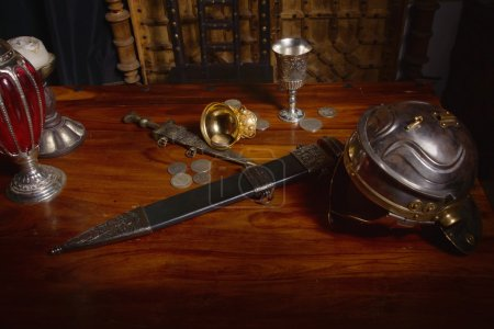 Ancient Rome concept. Gladius, antique hand weapon...